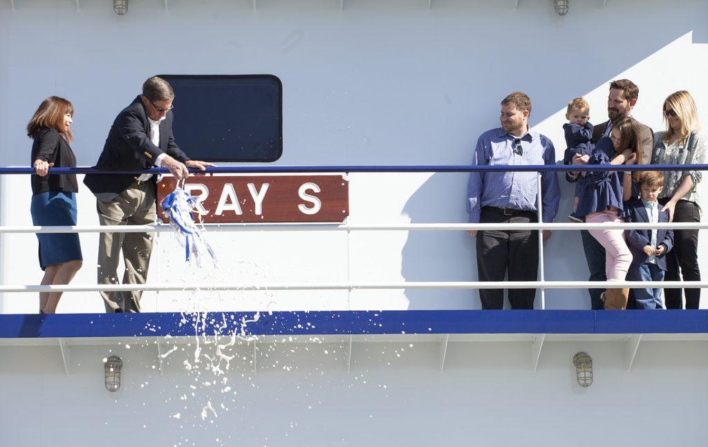 Ray Sick christens namesake vessel.