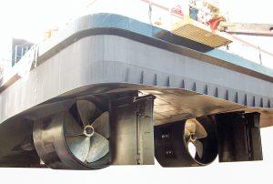 Becker Flap Rudder arrangement for U.S. towboats.