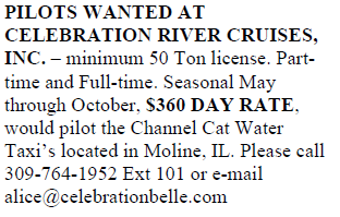 PILOTS WANTED AT CELEBRATION RIVER  CRUISES, INC.