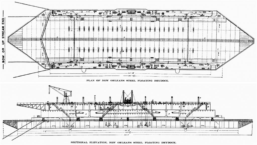 Plan (top) and profile (bottom) views of the Algiers naval drydock.