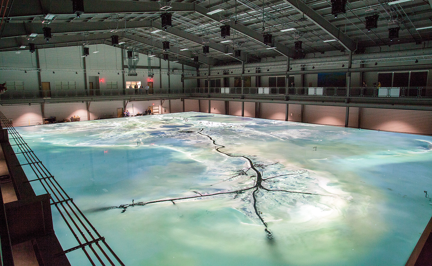 The centerpiece of the facility is a state-of-the-art model of the Lower Mississippi River.