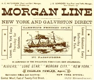 A 19th-century newspaper ad for the Morgan Line's freight-only service.