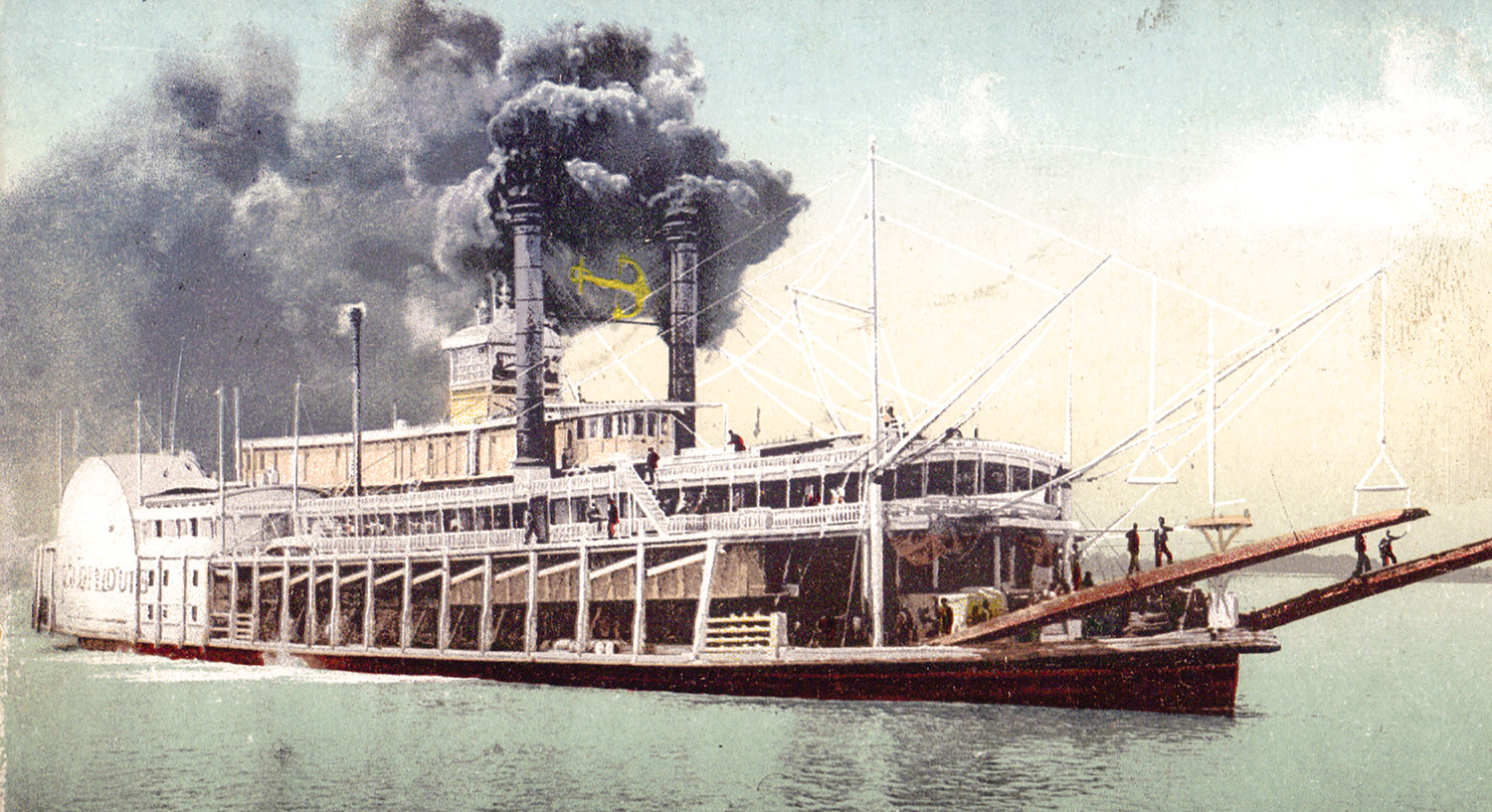 A vintage postcard view of the famous Anchor Line steamboat City of St. Louis.