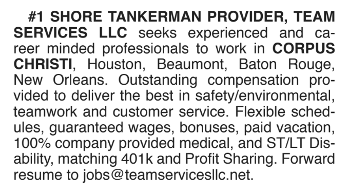 SHORE TANKERMAN PROVIDER, TEAM  SERVICES LLC