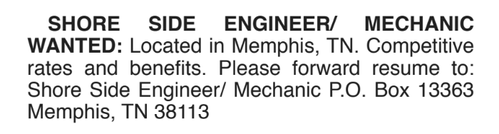 SHORE SIDE ENGINEER/ MECHANIC
