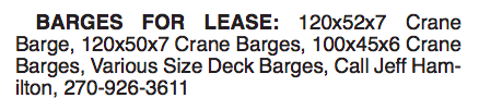 BARGES FOR LEASE