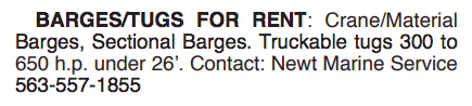 BARGES/TUGS FOR RENT