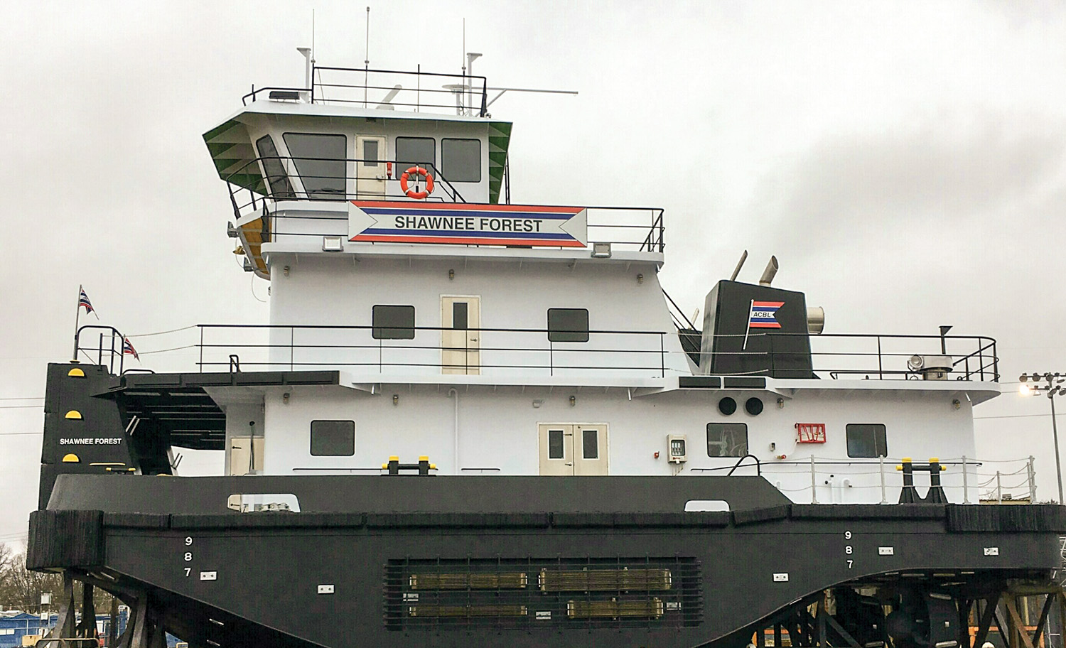 The 2,000 hp. towboat is powered by Caterpillar diesels with ZF Marine azimuth-drive units.
