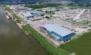An aerial view of C&C Marine & Repair's 80-plus-acre facility in Belle Chasse, La.