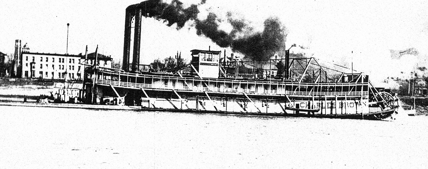 The steam towboat Charles Brown underway on the Ohio River. (Keith Norrington collection)