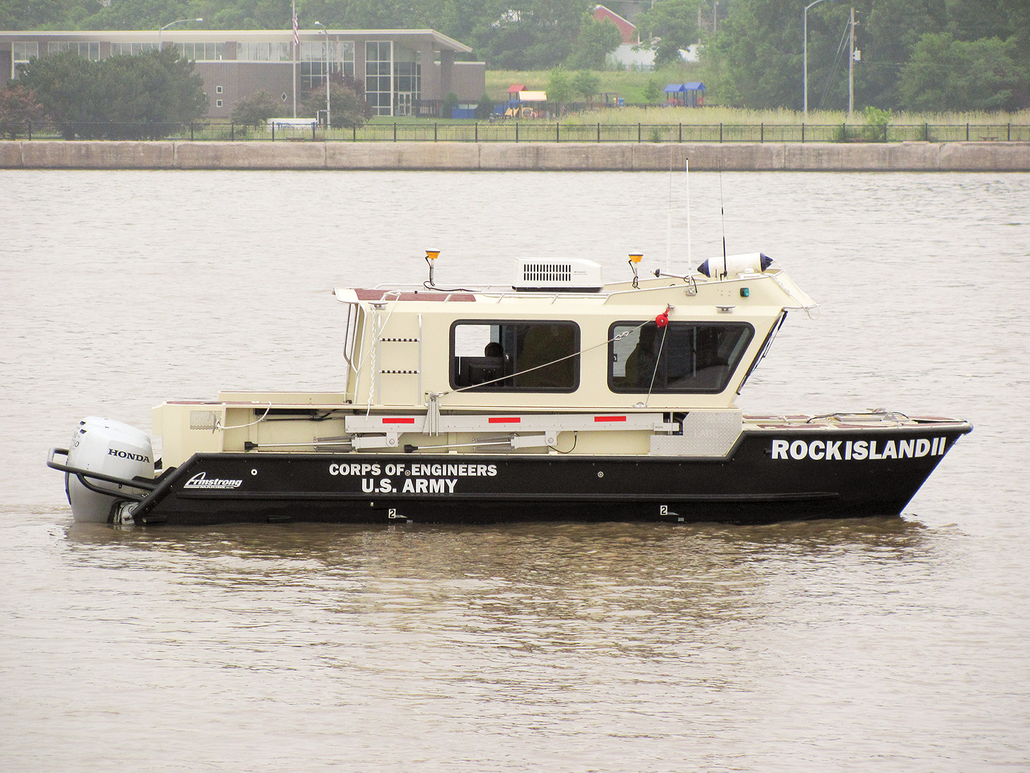 The SV Dubuque under way in the Mississippi River near the Rock Island District headquarters on the morning of June 12. The new hydrographic survey vessel is beginning its life on the river by performing condition surveys in Pools 15, 14 and 13. Rock Island II is a temporary name during the manufacturing process. Corps Headquarters approved Dubuque as the vessel's permanent name following its arrival at the district.