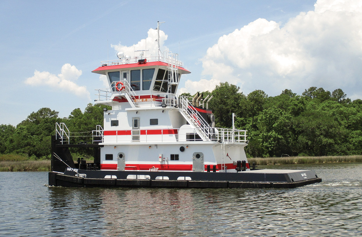 The 1,606 hp. Sam P. Hise is the third of four towboats Master Marine is building for Waterfront Services Company.