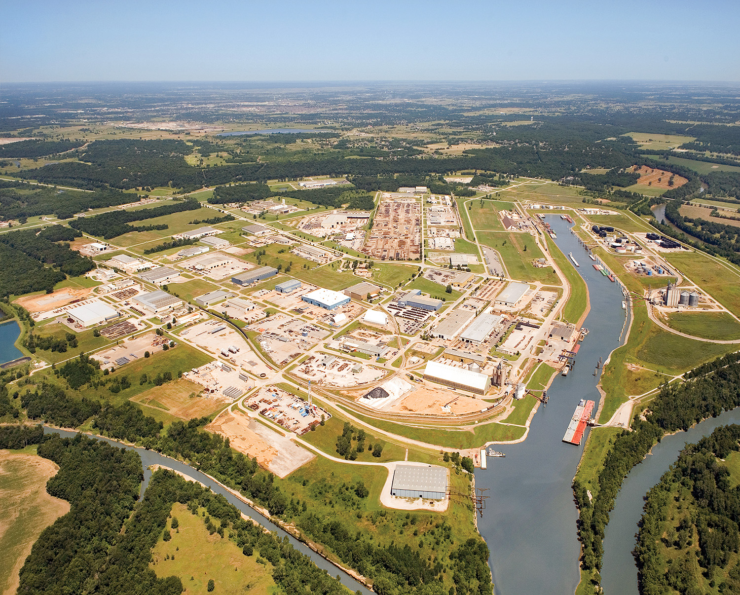 Aerial view of the Tulsa Port of Catoosa.