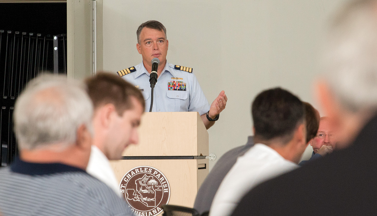 Capt. Wayne Arguin, captain of the Port of New Orleans speaks during CAMO workshop. (Photo by Frank McCormack)
