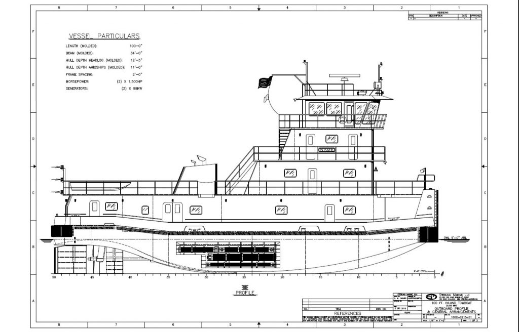 Drawing of a forthcoming Enterprise towboat. A total of four of these Sterling Marine-designed towboats will be built at Steiner Shipyard for Enterprise. (Courtesy of Enterprise Marine Services)