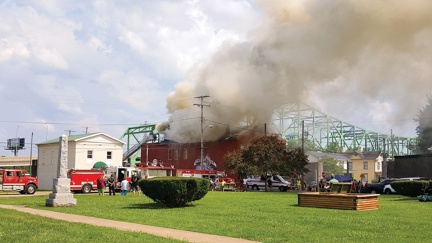 A fire in the attic of the Point Pleasant River Museum and Learning Center was fought by firefighters from eight communities in West Virginia and Ohio. (photo courtesy of Mark Kincaid)