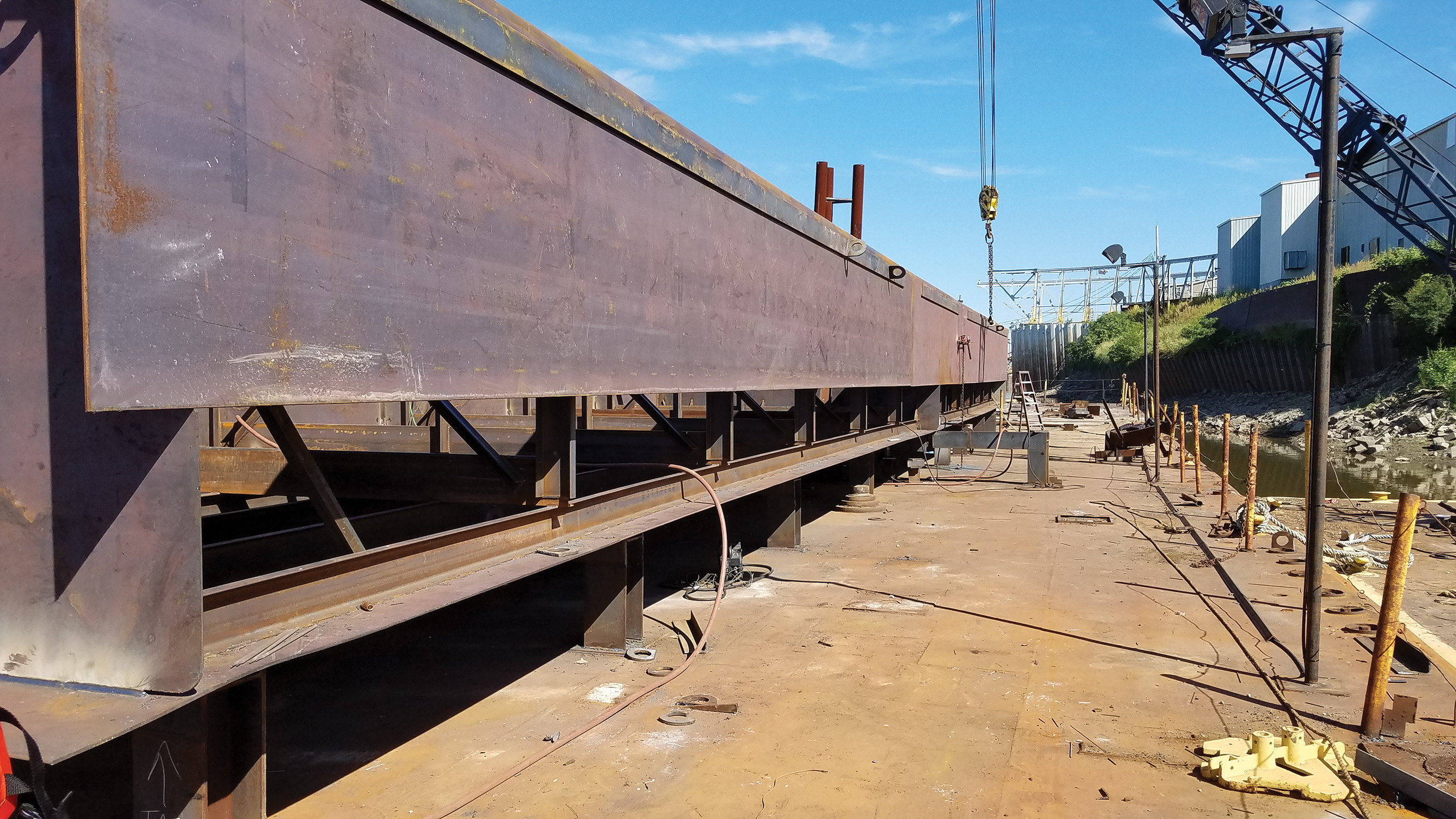 Progress is being made on the GDC-43, the first of two sand barges being built by National Maintenance Repair for Gateway Dredging & Contracting LLC.