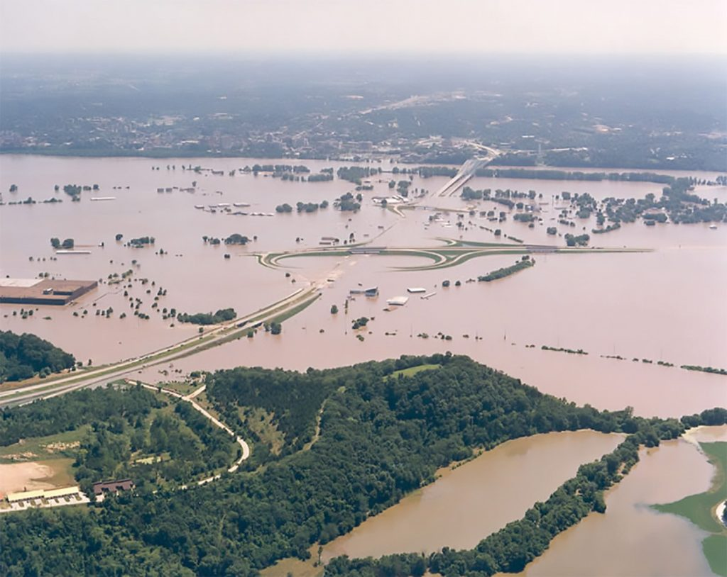 Aerial view of the Missouri River flooding on July 30, 1993, near Cedar City and Jefferson City Memorial Airport immediately north of Jefferson City, Mo., looking south. (Photo courtesy of the Missouri Highway and Transportation Department)