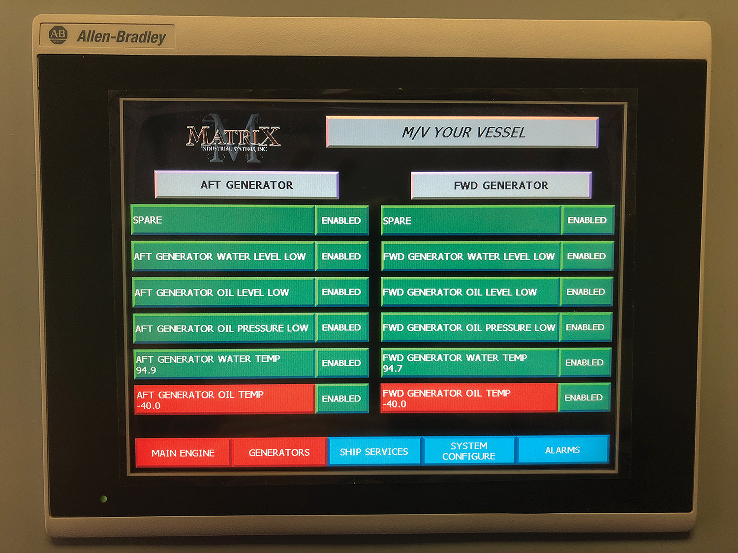 Sample screen showing Matrix Engineering's software.