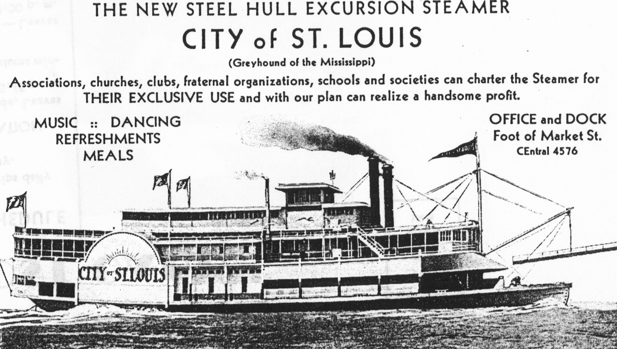 A 1930s advertisement of the steamer City of St. Louis. (Keith Norrington collection)