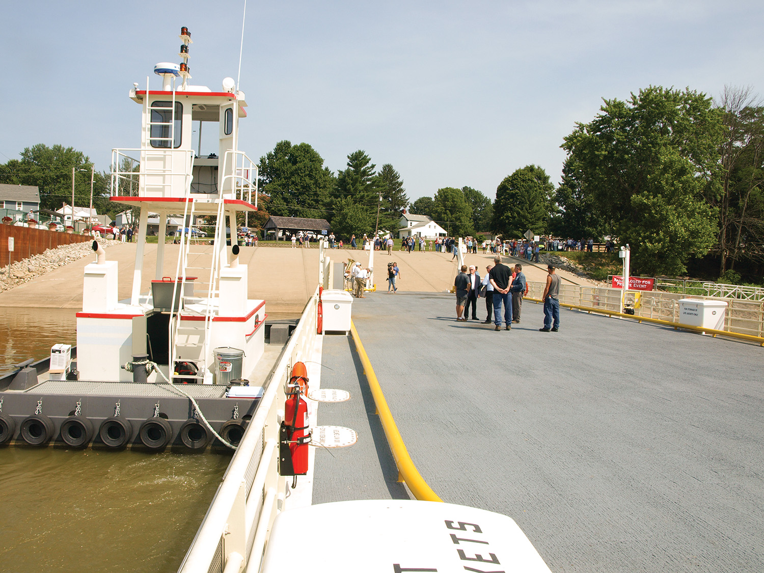 The new ferry boat and barge serving Rising Sun, Ind., and Rabbit Hash, Ky., were christened July 12 in a ceremony at Rising Sun. The ferry is owned and operated by Full House Resorts, the parent company of the Rising Star Casino and Resort at Rising Sun, Ind. (photo by Jim Ross)