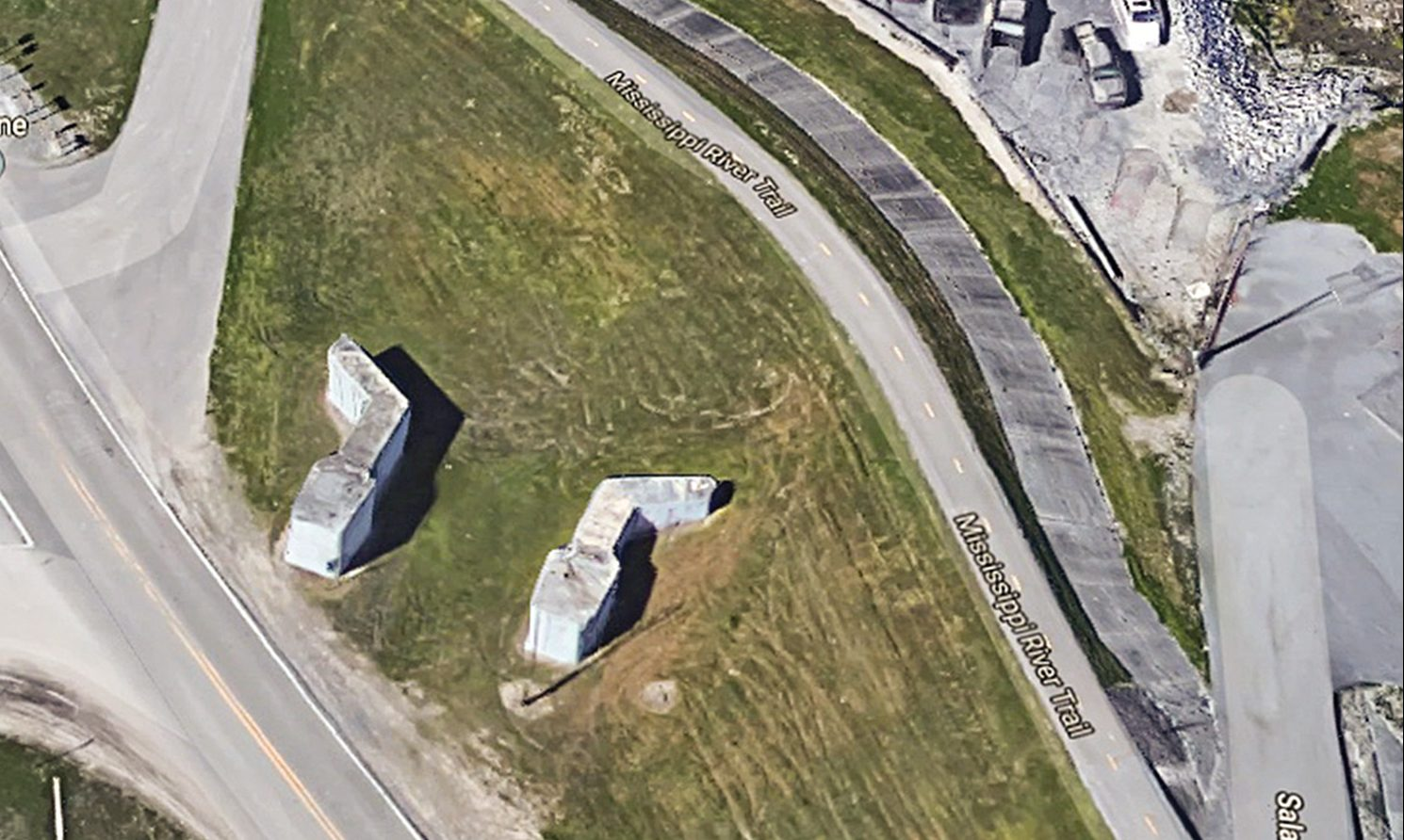 Satellite view of the remains of Westwego Lock near the offices of Progressive Barge Line in Westwego, La. (Google Maps image)