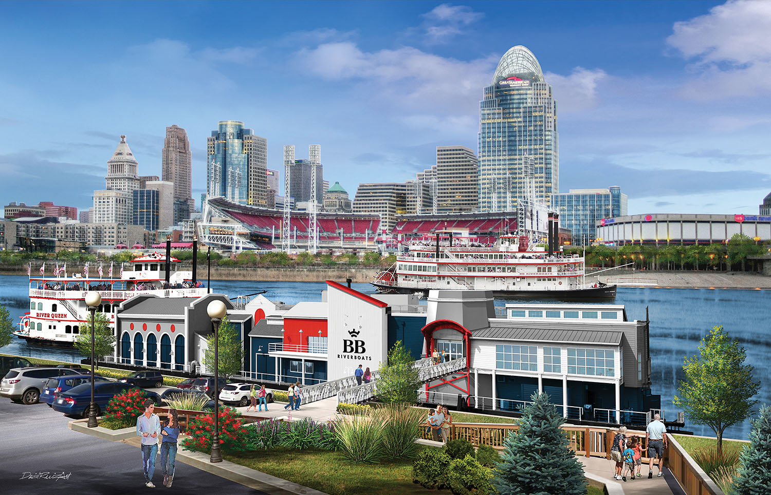 An artist's rendering of what the new BB Riverboats dock facility will look like once it's completed in November.