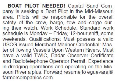 BOAT PILOTS NEEDED