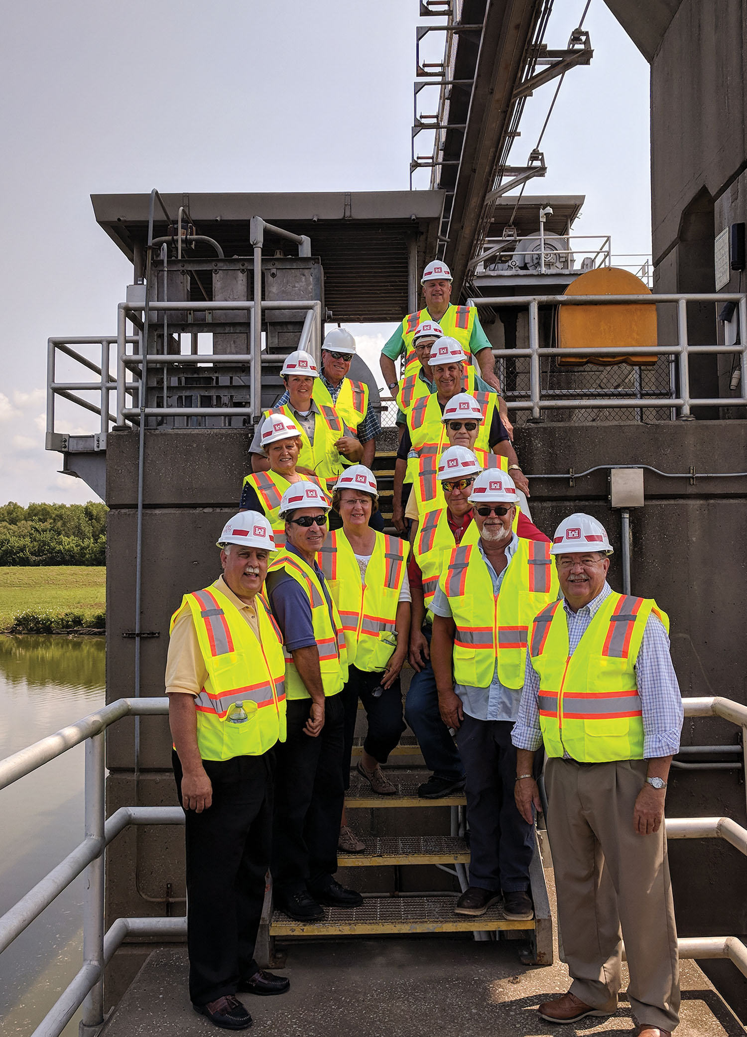 Board members from the Kaskaskia Regional Port District Tour the Jerry F. Costello Lock and Dam during dewatering.