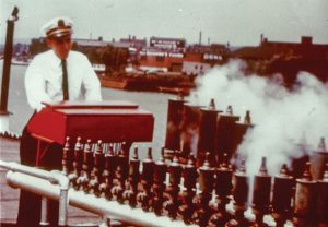 Capt. Doc Hawley at the calliope of the Str. Avalon in the 1950s.
