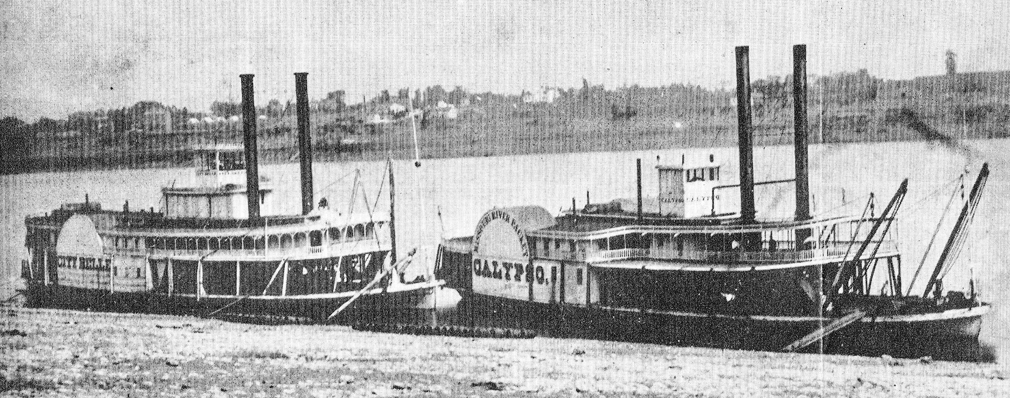 The steamers City Belle and Calypso at a Missouri River landing. (Keith Norrington collection)