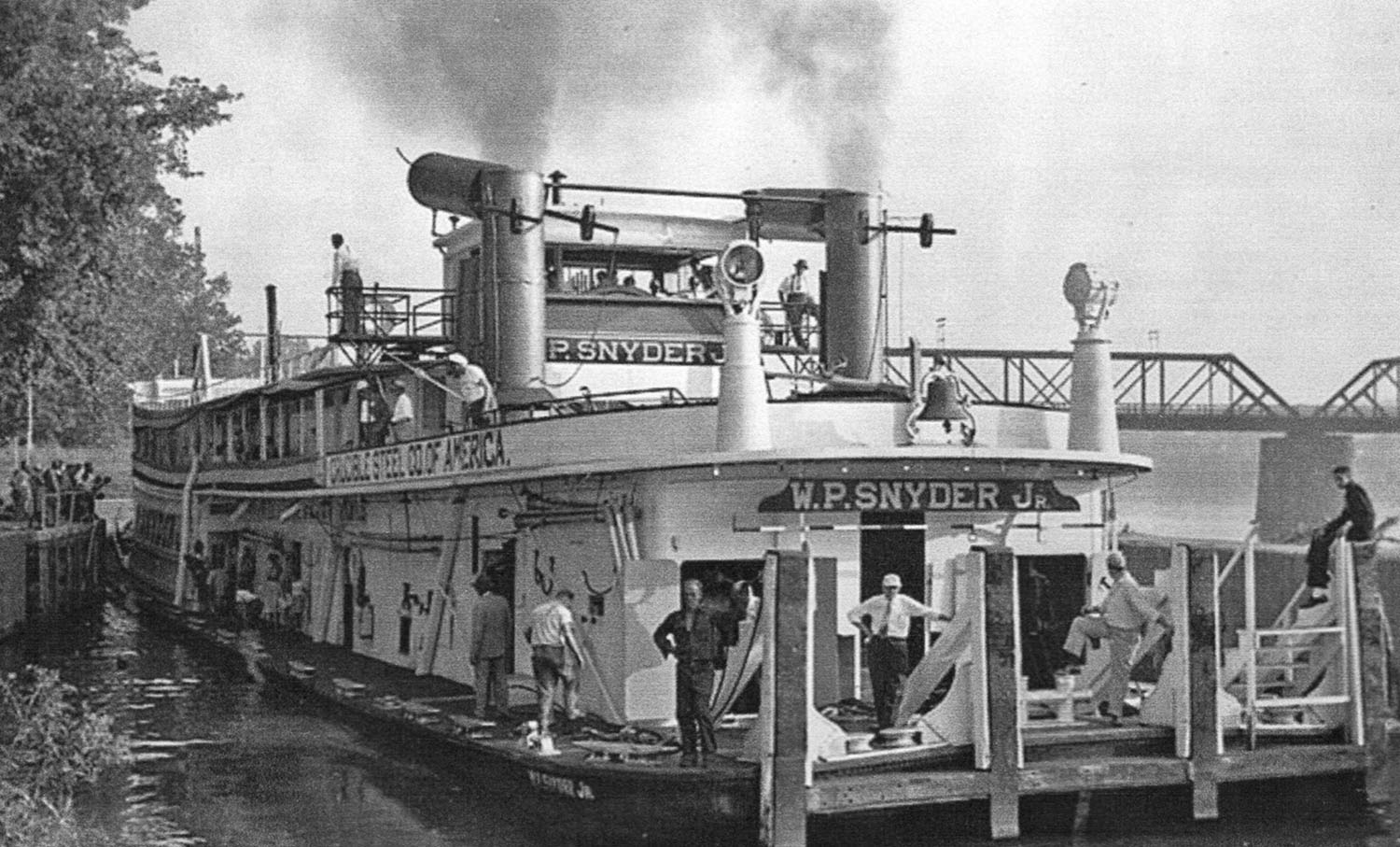 The W.P. Snyder Jr., arriving at Marietta in 1955.