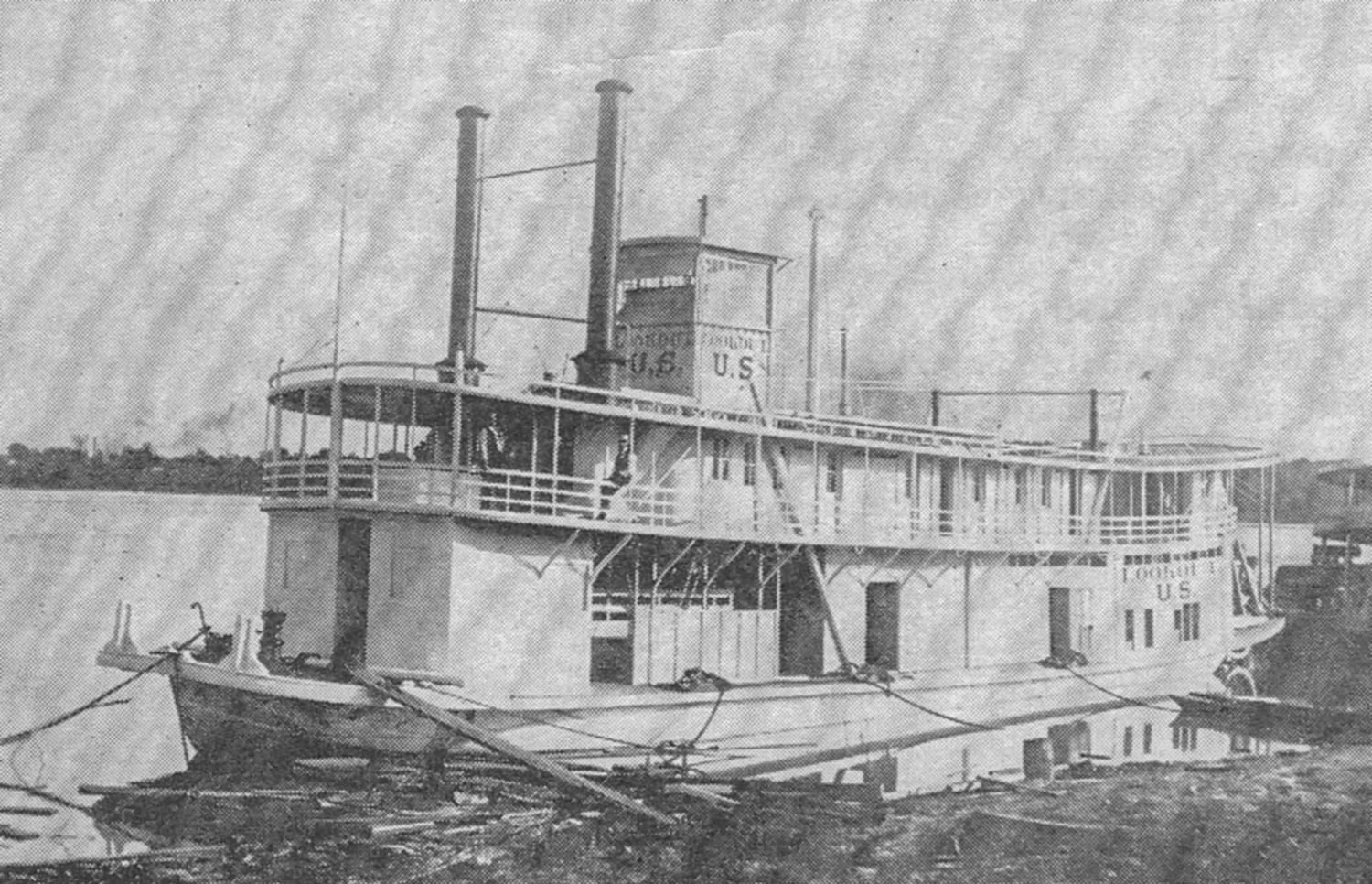 The towboat Lookout under completion at the Howard Shipyard in 1896.