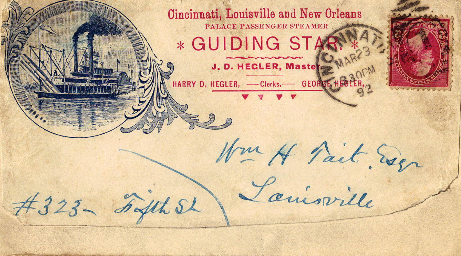 A cover, postmarked at Cincinnati in 1892, from the Guiding Star.