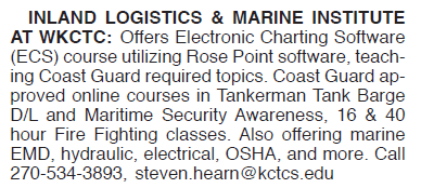 INLAND MARINE LOGISTICS & MARINE INSTITUTE SOFTWARE COURSE