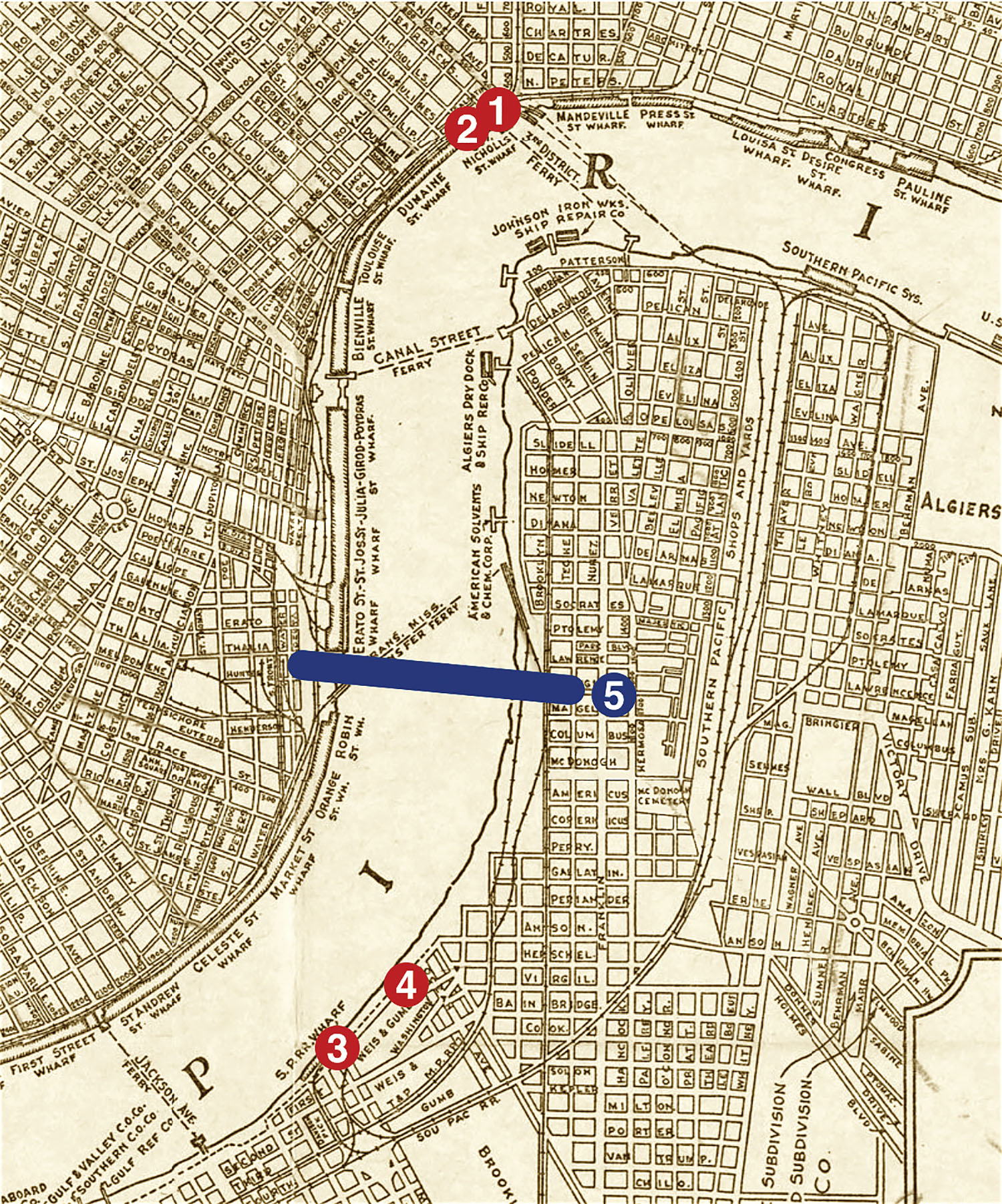 River traffic-related locations superimposed on a map of New Orleans published in 1931, one year before the first Algiers Point traffic control signals were installed. 1) Original Barracks Street Wharf traffic light. 2) Present-day Governor Nick. 3) Original Gretna Light. 4) Present-day Gretna Light. 5) Crescent City Connection bridges.