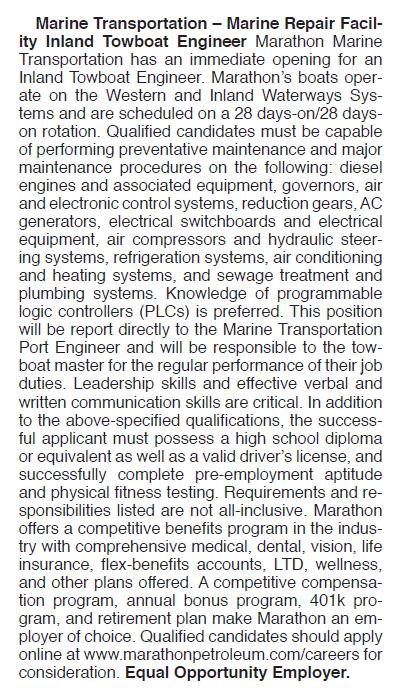MARINE TRANSPORTATION – MARINE REPAIR FACILITY INLAND TOWBOAT ENGINEER