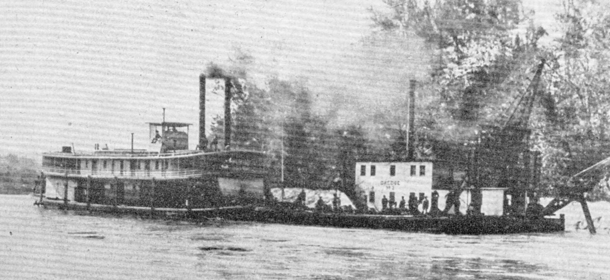 The Leota towing a dredge on the Coosa River.