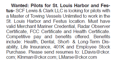 Wanted: Pilots for St. Louis Harbor and Festus