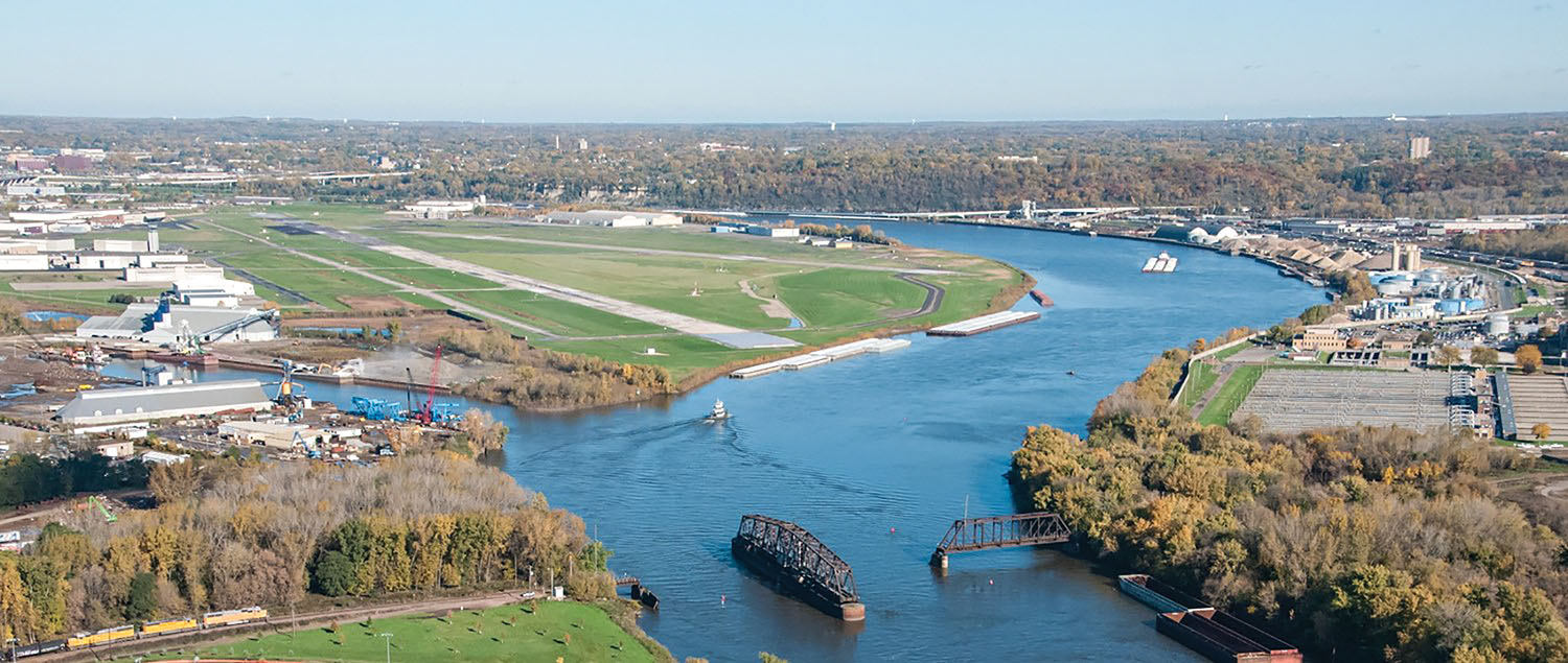 Aerial view of port facilities on the Upper Mississippi River in St. Paul, Minn.