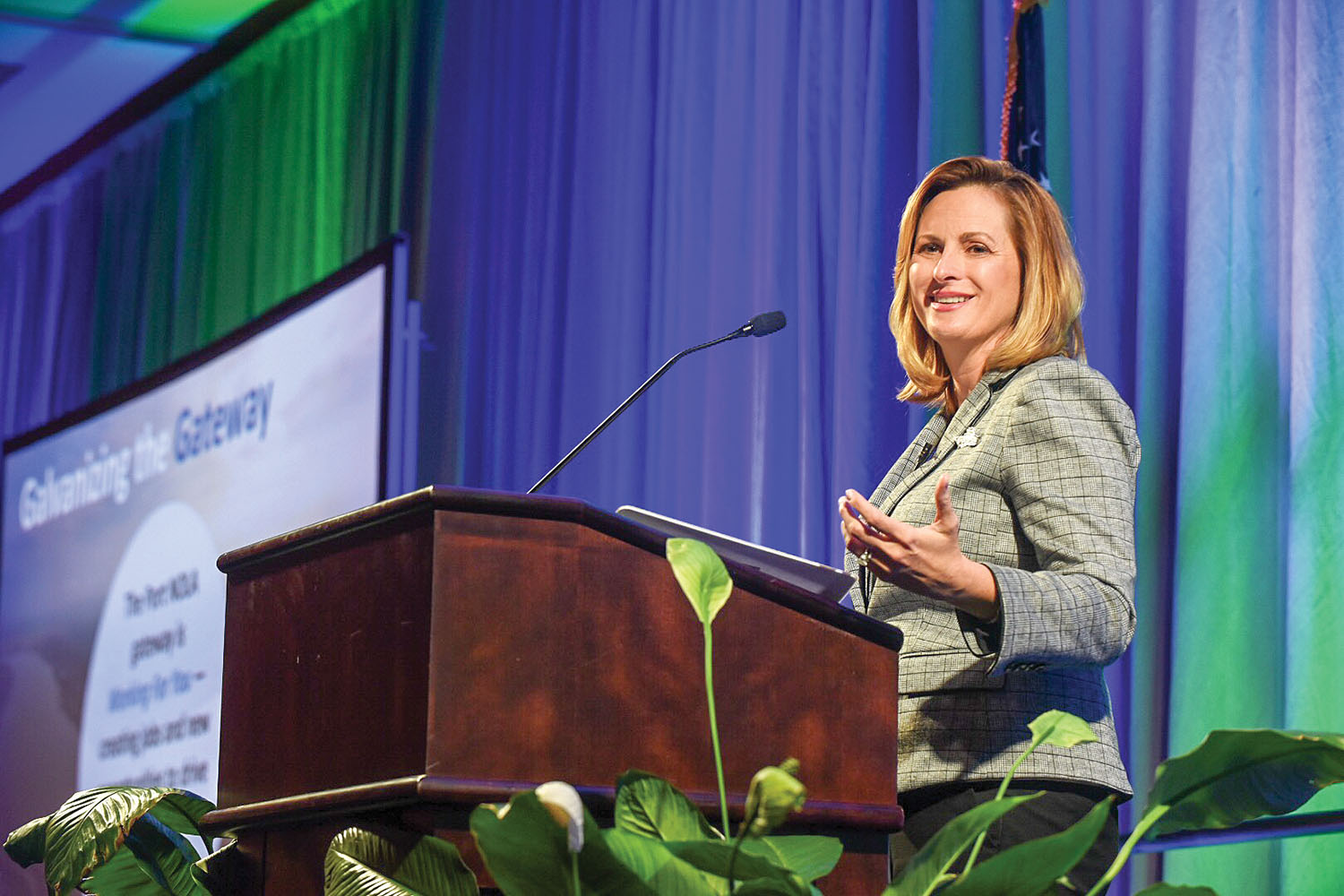 Brandy Christian gives the State of the Port address (Port of New Orleans photo)