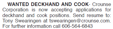 Wanted Deckhand and Cook