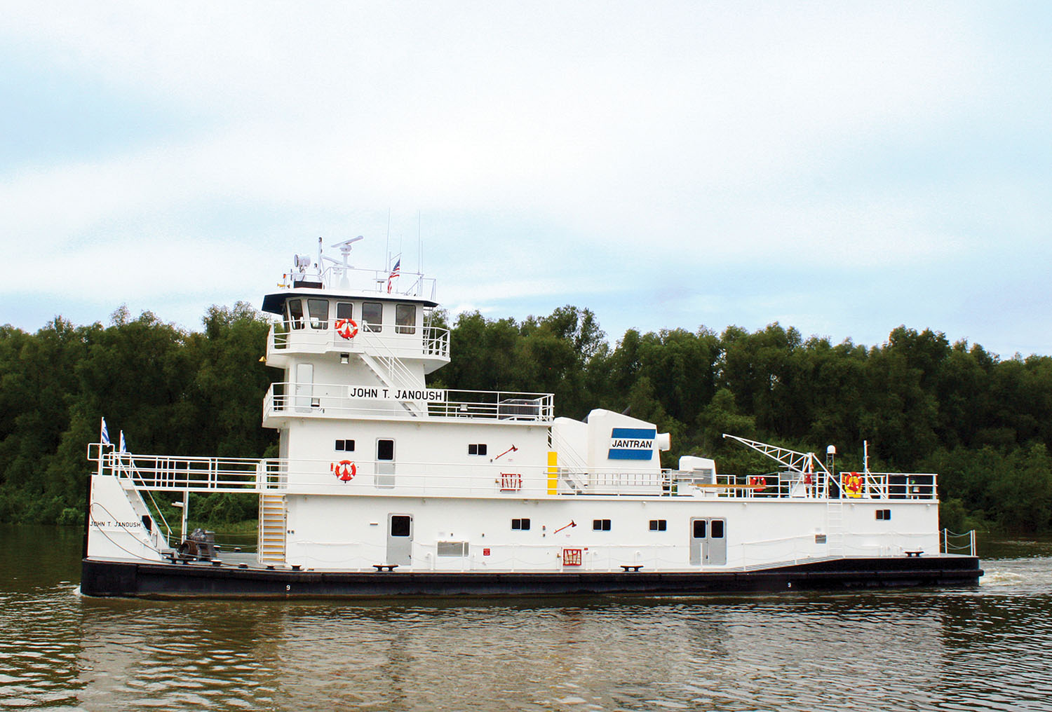 The mv. John T. Janoush, named for JANTRAN's former manager of operations who died of lung cancer last year, is a closed-wheel boat that measures 114 by 35  by 11 feet, with a 9-foot draft. (Photo courtesy of JANTRAN Inc.)