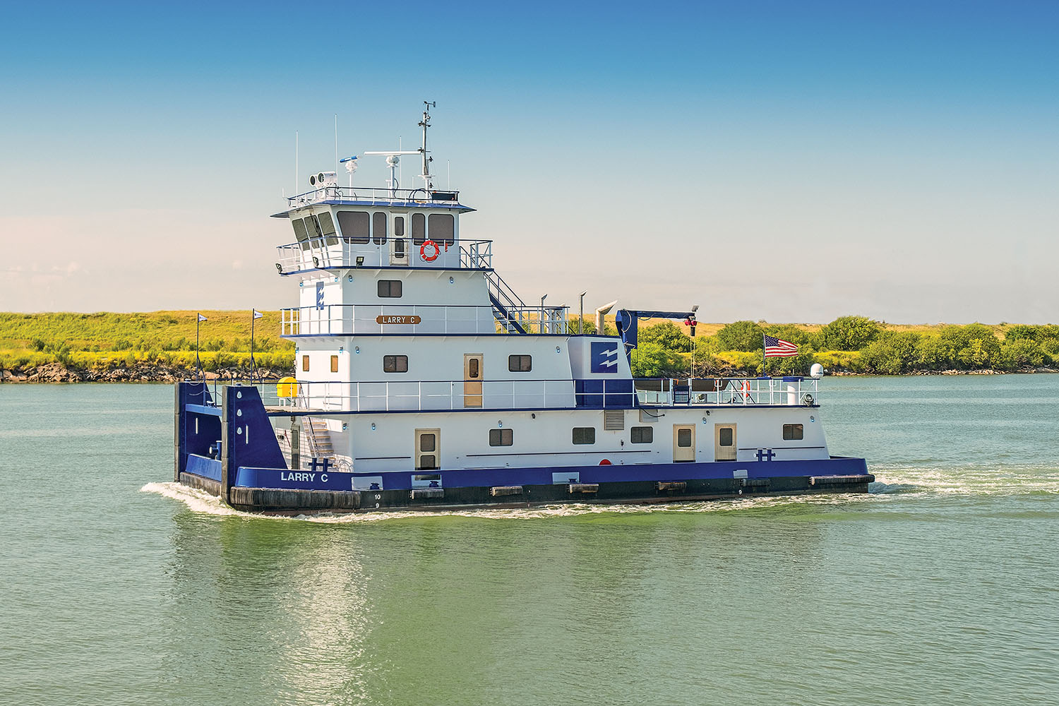 Towboat has 2,680 hp. from twin Caterpillar 3512C diesels.