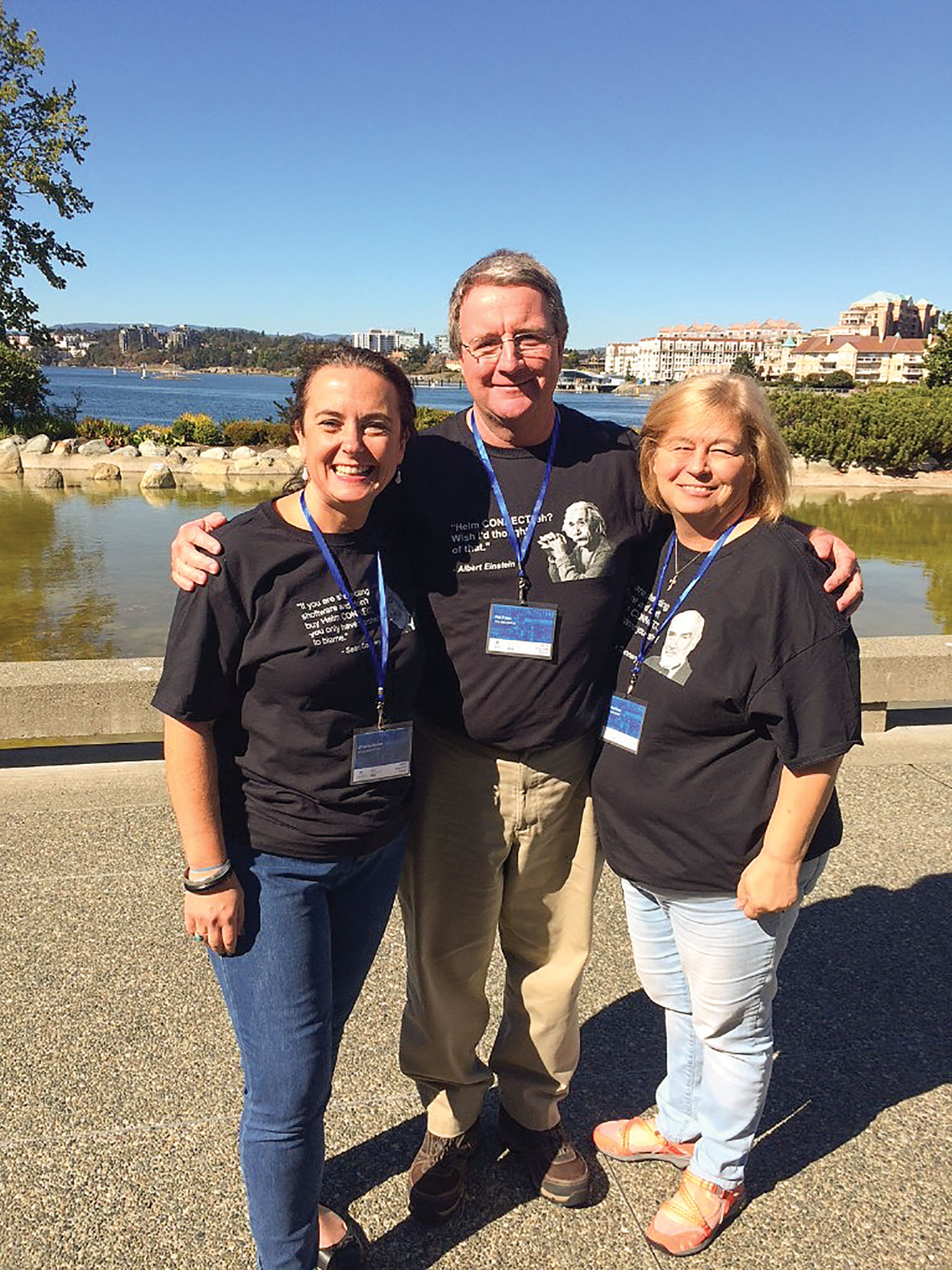 Chrystie Benson, left, with Helm Operations and Pat and Sandy Folan with Tug & Barge Solutions (TBS) at Helm Conference 2018.