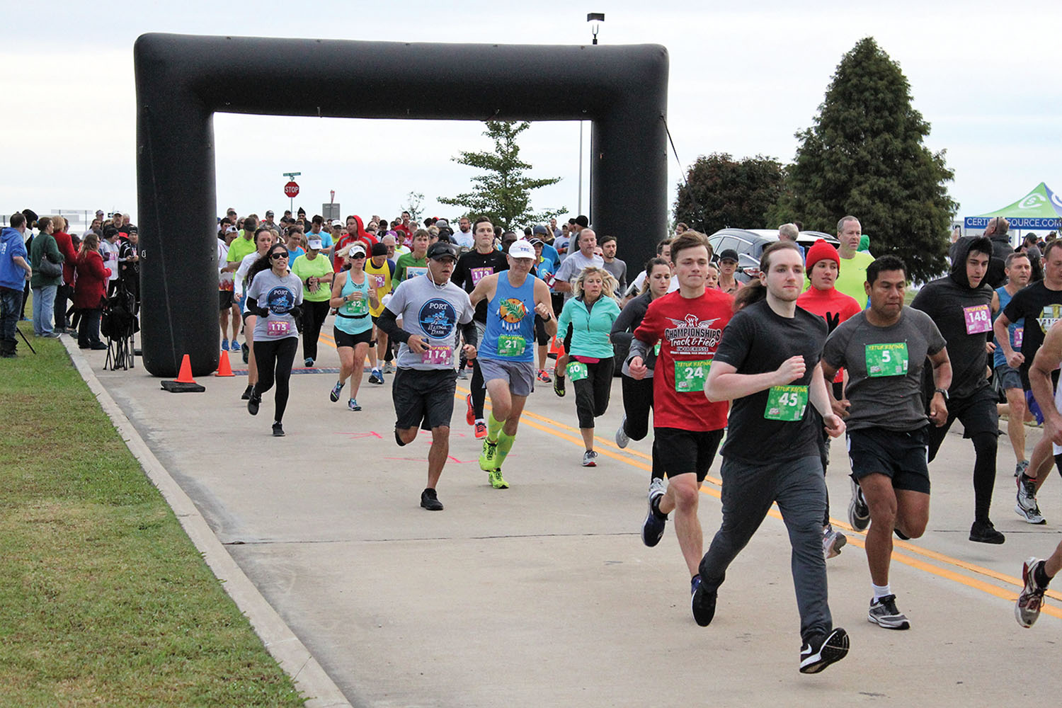 This year's Tulsa Port Harbor Dash brought together more than 250 runners for the 5K, 10K and family-fun run. The run, which had its inaugural race last year, was developed by the port to bring awareness to the river, the port and its tenants. (photo courtesy of the Tulsa Port of Catoosa)