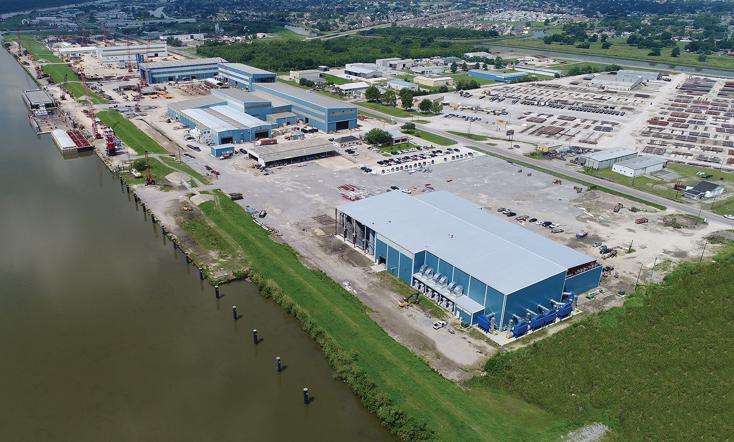 Aerial view of C&C Marine & Repair, with new blast and paint facility in the foreground. (Photo courtesy of C&C Marine & Repair)