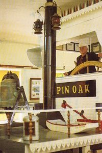 Replica pilothouse of the steamer Pin Oak in the River Room of theHermann Museum.(Keith Norrington collection)