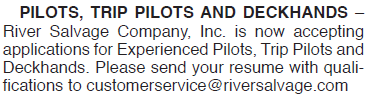 RIVER SALVAGE PILOTS DECKHANDS WANTED