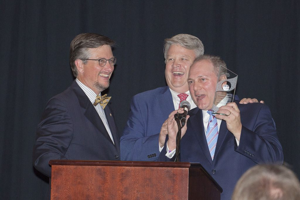 Michael Nation, first vice president of the New Orleans Propeller Club; Sean Duffy, ex officio; and Rep. Steve Scalise. (Photo by Frank McCormack)